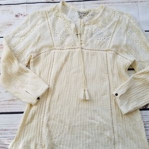 Lucky Brand Textured Eyelet Cream Peasant Top